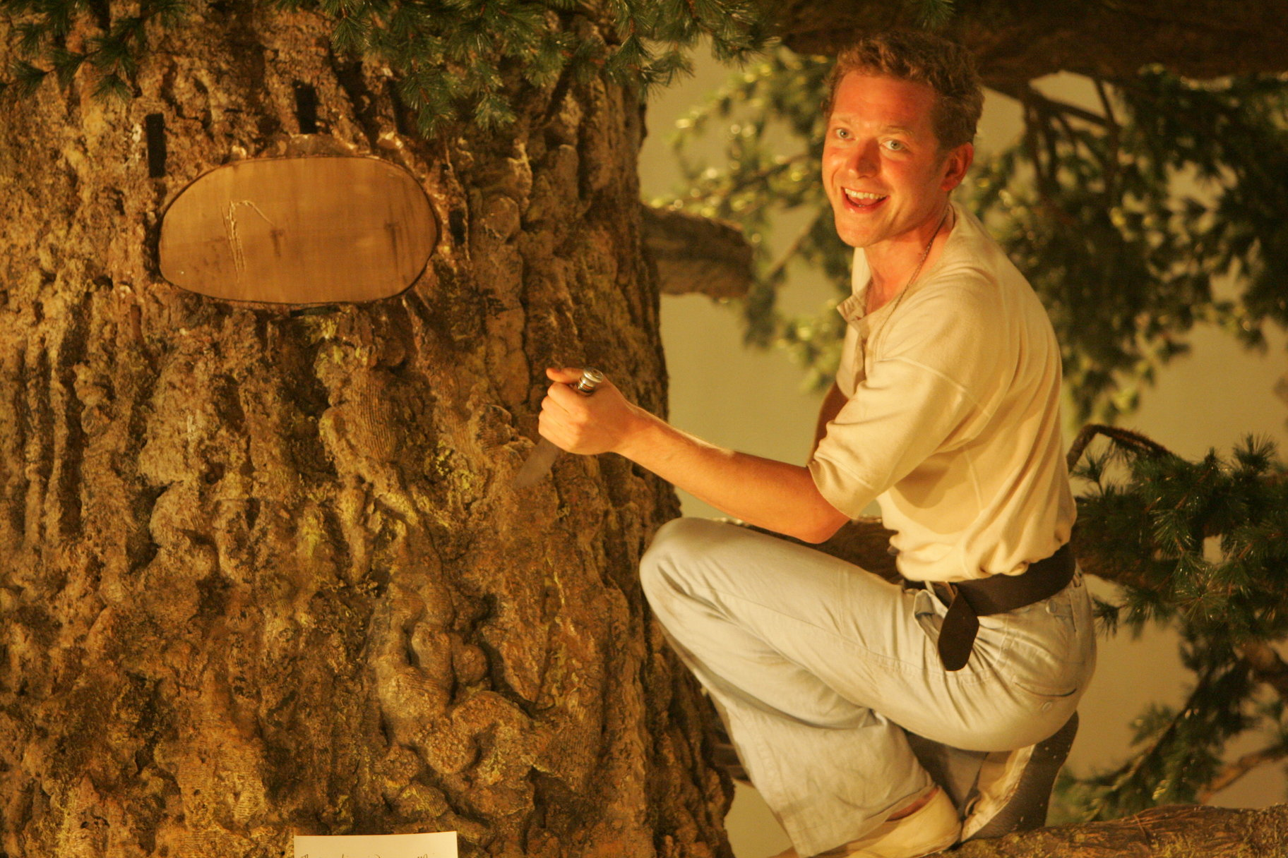 A man carving into a tree.