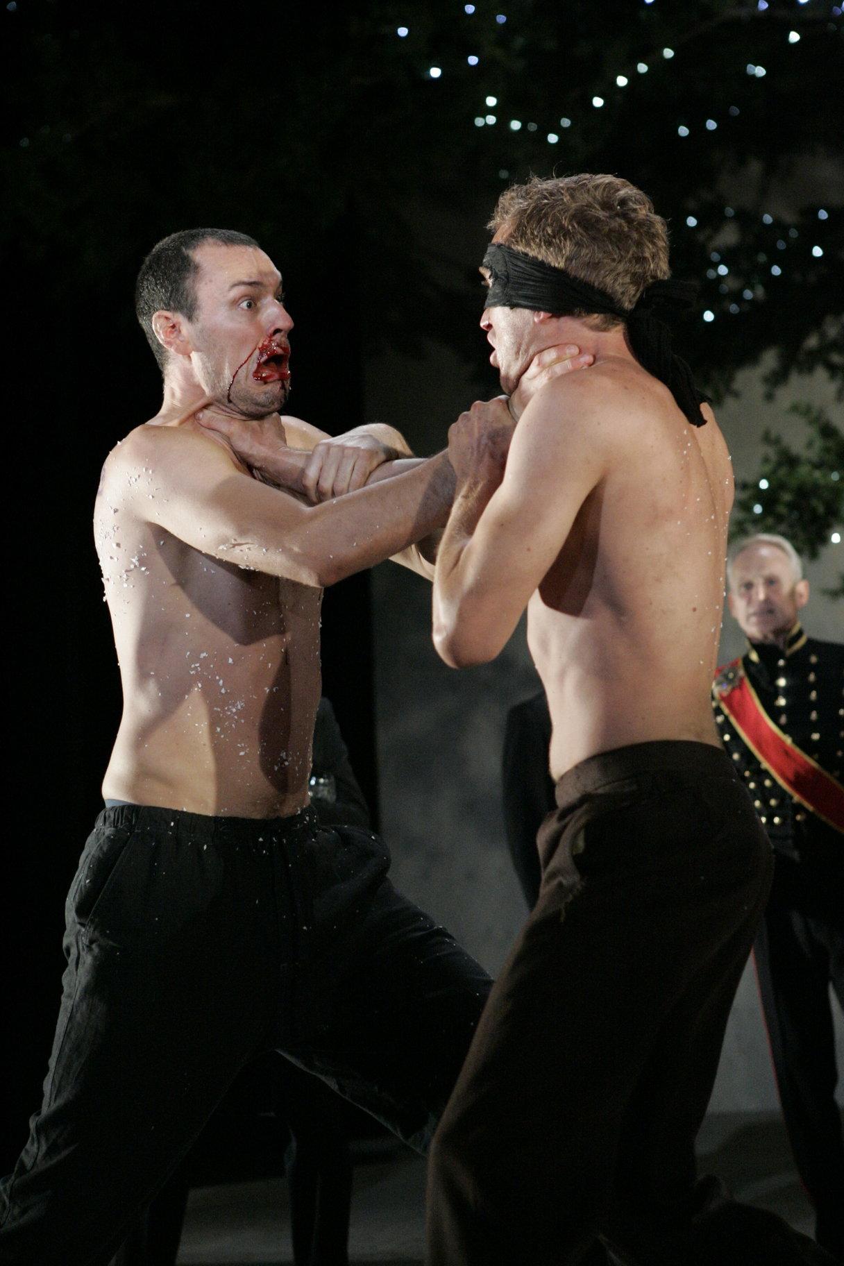 Charles and Orlando wrestle.