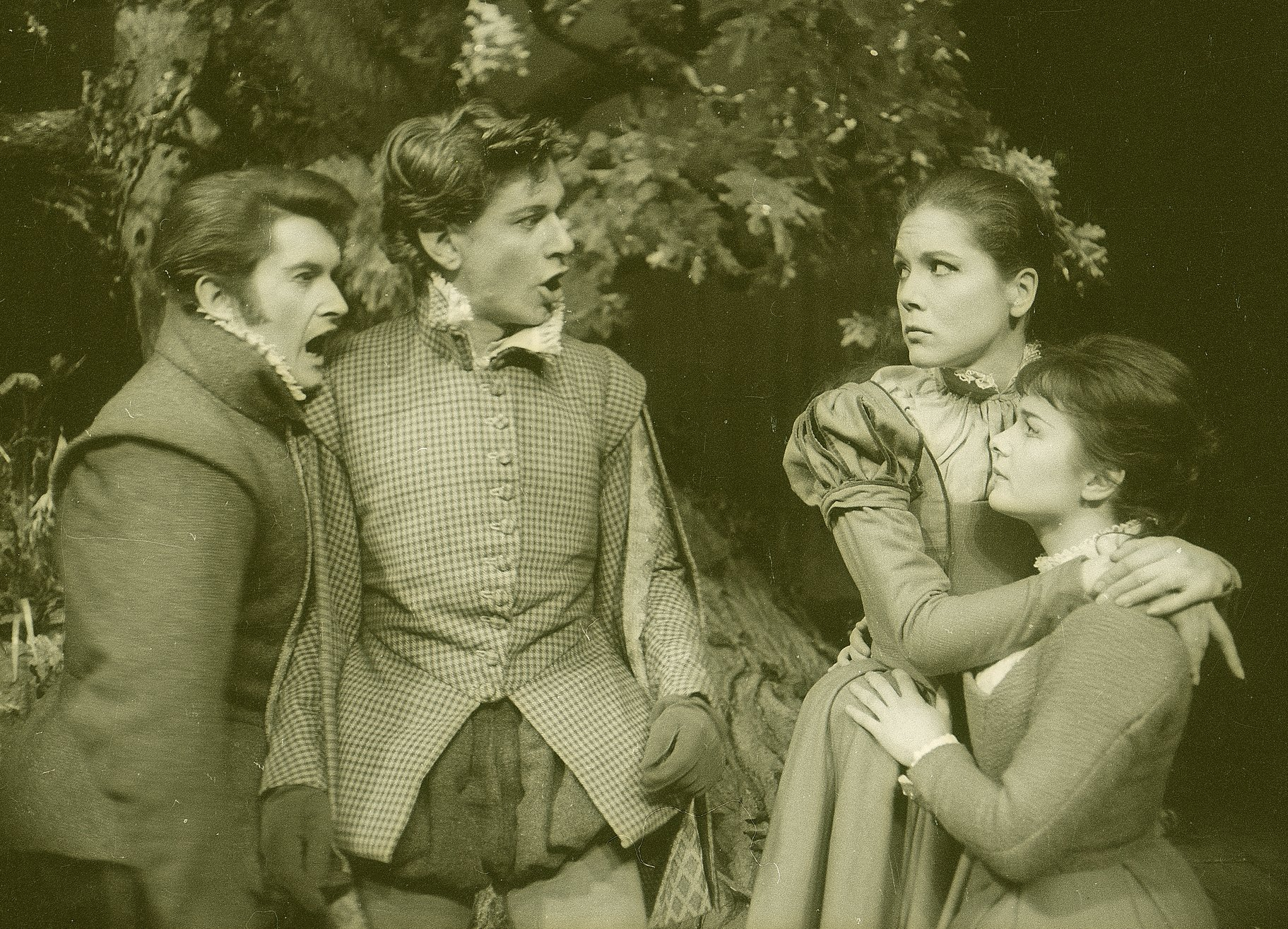 A Midsummer Night_s Dream_ 1963_ Demetrius_ Lysander_ Helena and Hermia _1963_Photo by Reg Wilson _c_ RSC_67016