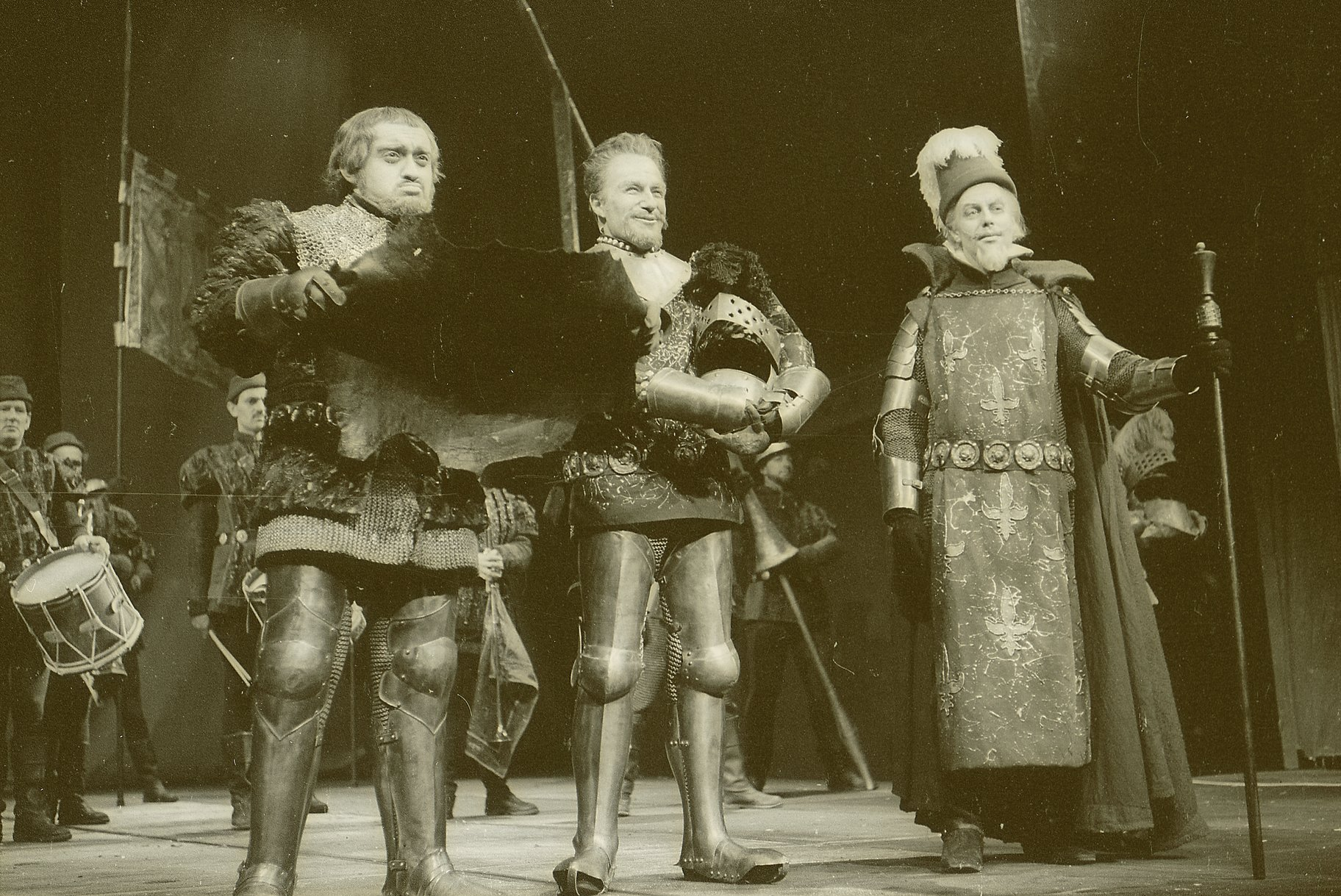 Henry V_ 1965_ the Duke of Bourbon_ the Constable of France and Montjoy_1965_Photo by Reg Wilson _c_ RSC_57404