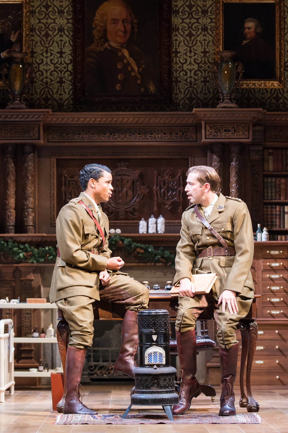 Claudio and Benedick in their soldier's uniforms.