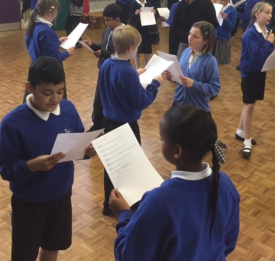 Children preparing for the RSC Schools' Broadcast