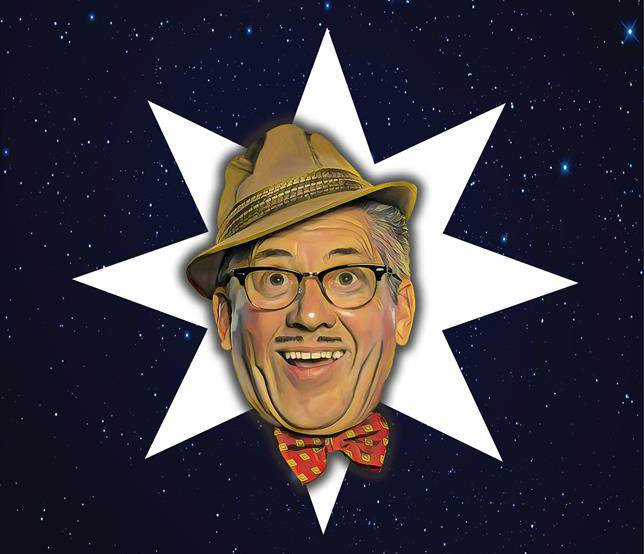 Arthur Strong's face on a white star with a background of outer space