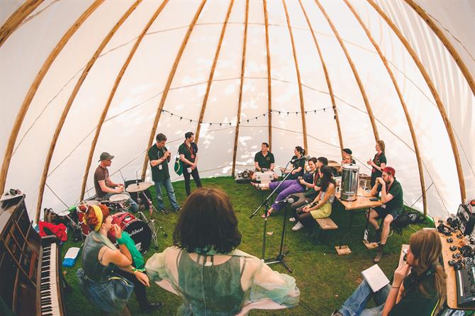Music in the teepee at the Fairy Portal Camp.