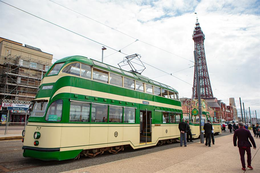 Tram with Blackpool Tower in the background