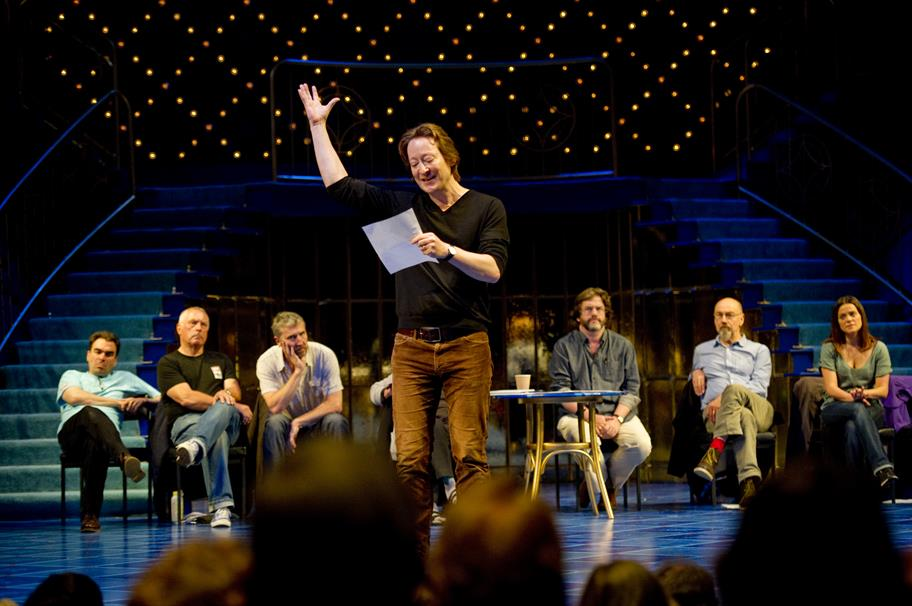 Scott Handy demonstrates rehearsal techniques on the Royal Shakespeare Theatre stage.