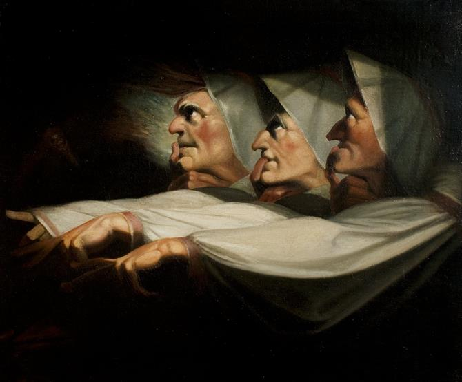 A painting of three hooded figures in dramatic silhouette looking to the left, each pointing their left arm. Black background.