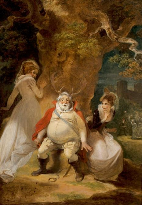 Painting of three figures at the base of a large tree. Two women look towards the round bellied man in the centre of the picture, who is wearing antlers and seems to be speaking or singing.