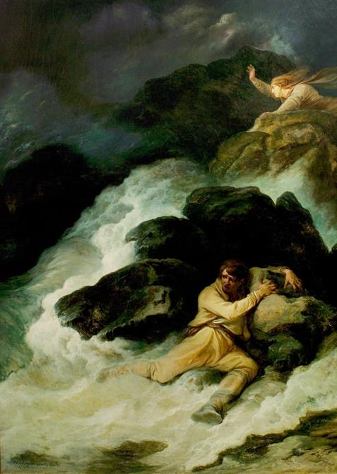 Dramatic painting showing a rough sea hitting rocks, a stormy sky and two figures on different rocks: one clinging on and the other, with flowing hair, has their hand raised to the sky.