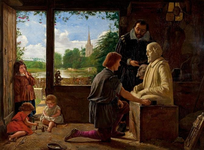 Painting of a sculptor kneeling next to a bust of Shakespeare, also featuring another man holding a death mask, and children playing. View of River Avon and Holy Trinity Church through the window.
