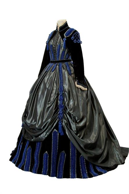 Ornate military and Edwardian styled dress in blue, black and grey. Various materials.