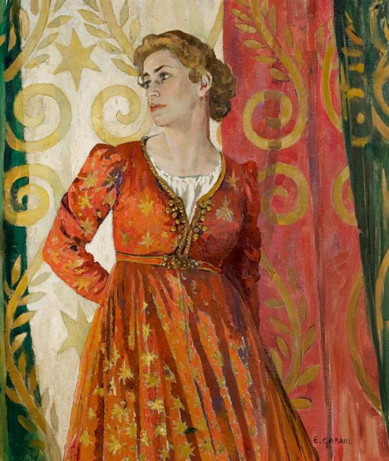 A female figure in ornate period costume leans against colourful backdrop and looks off to the left.