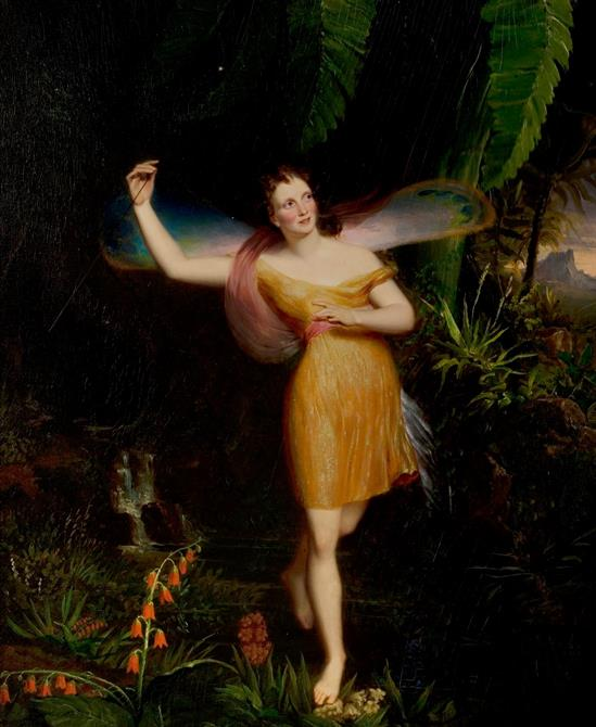 Brightly lit fairy figure in yellow dressing with arm in the air, surrounded by a dark background of plants and flowers. Mountains can be seen in the distance.