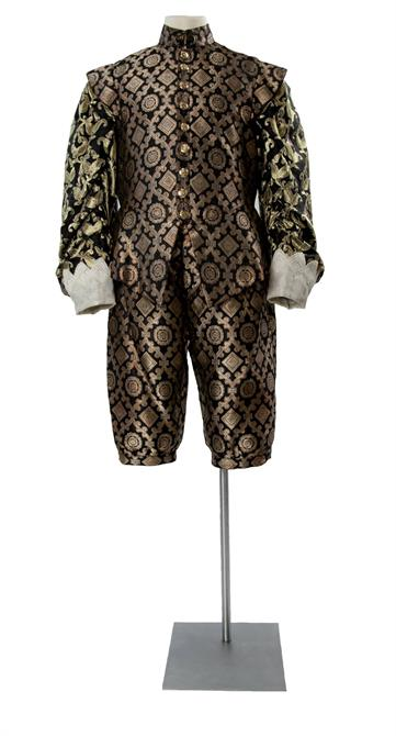 Black and gold brocade suit worn by Gary Waldhorn as the King of France in All's Well That End's Well in 2003.