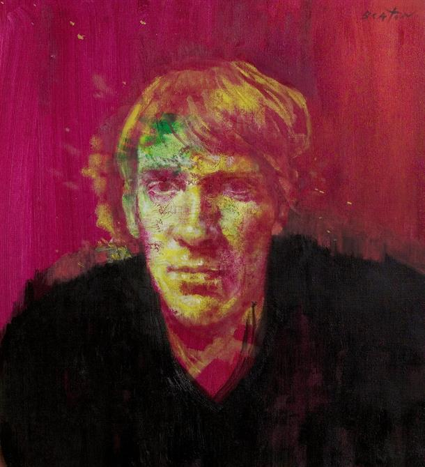 Head and shoulders painting of David Warner with pink background, black clothes and the face painted in white, yellow and green.