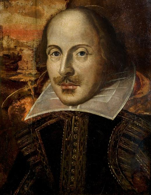 Head and shoulders portrait showing Shakespeare in ornate contemporary dress in muted hues.