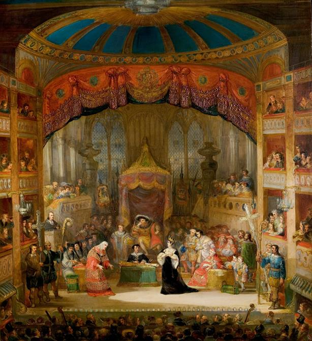 Painting showing the busy interior of a Victorian theatre, with an ornate dome above the stage, a large cast amassed around the central two royal characters, and a packed audience watching on.