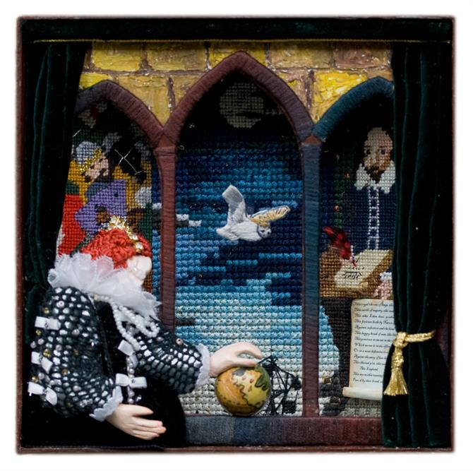 Three dimensional collage using tapestry, featuring a model of Elizabeth I with Shakespeare in the background.