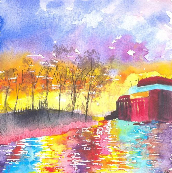 Bright watercolour of a sunset over the river, trees on the left bank and RST in the background on the right.