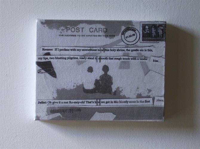 Black and white collage featuring a couple photographed from behind, cut out words and postcard stamp.