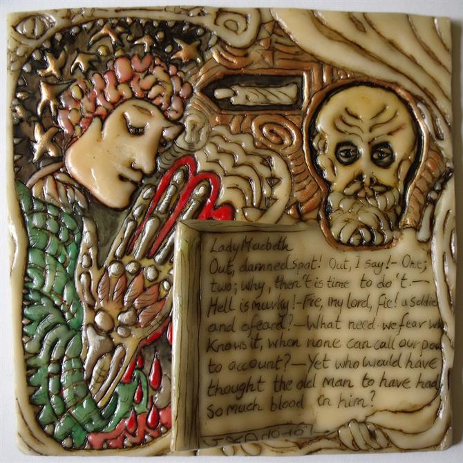 Wax engraved drawing with additional painted colour, showing two figures and handwritten text from Macbeth.