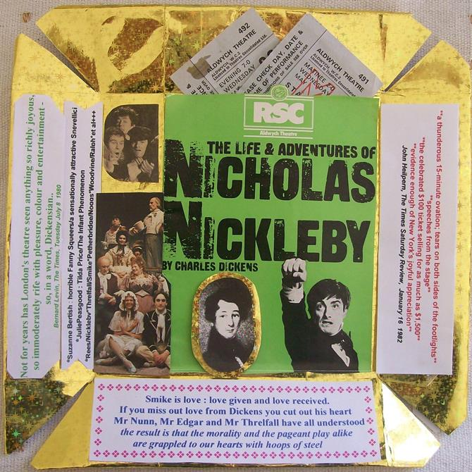 Collage on gold background using cut-out reviews, marketing print and tickets from 'The Life & Adventures of Nicholas Nickleby'.