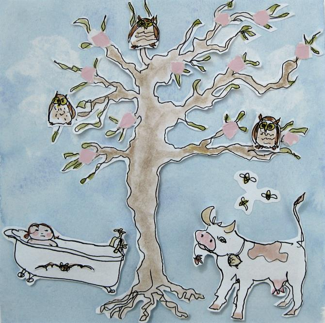 Watercolour image featuring a tree containing three owls, with a cow, a baby in a bath and some bees underneath the tree.