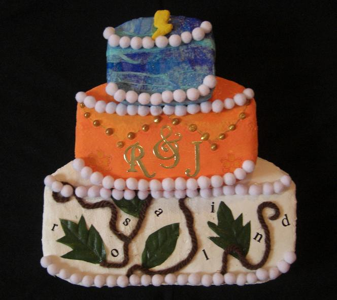Collage featuring a three-tiered cake with decoration including a thunder bolt, the letters R&J and Rosalind.