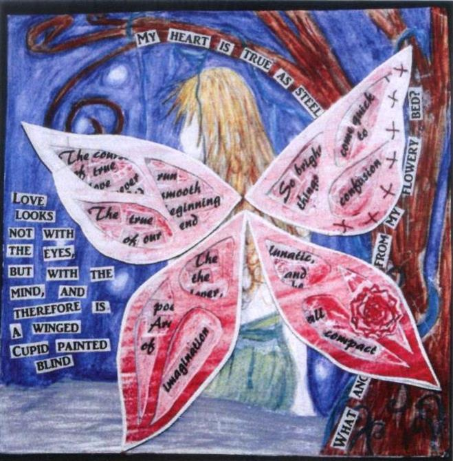 Collage featuring cut out words, on a watercolour drawing of Titania with her back to us, showing her fairy wings.