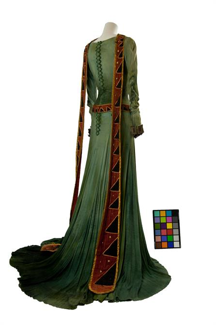 Long green dress worn by Vivien Leigh as Lady Macbeth on a tailor's dummy