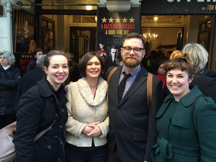 Members of the Literary Team standing outside a theatre with writer Tom Morton Smith