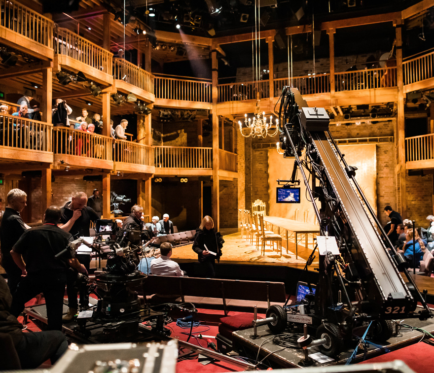 Cameras set up in the Swan Theatre to record a performance.