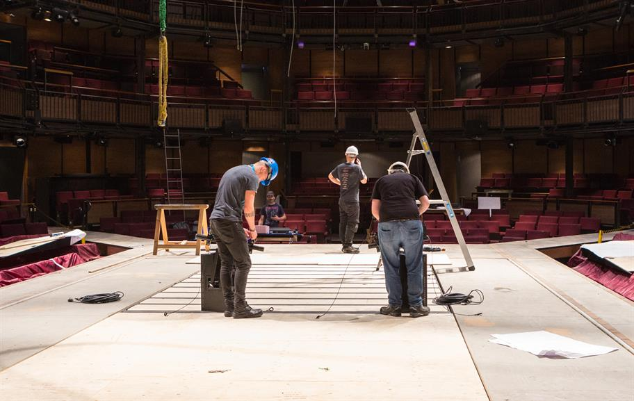 men working in hard hats on the RST stage