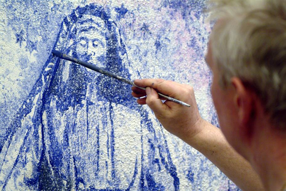 Painting a fresco of the Madonna for Romeo and Juliet, 2004