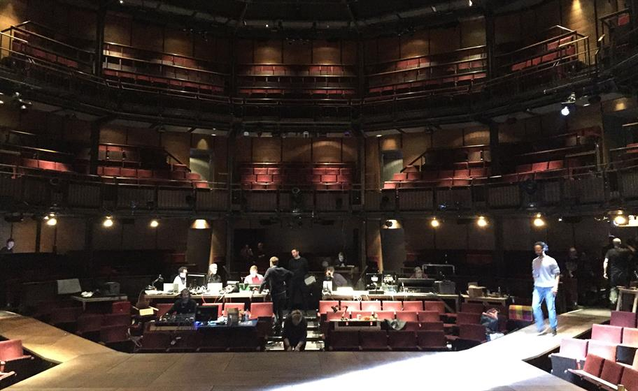Technicians preparing the stage for Hamlet