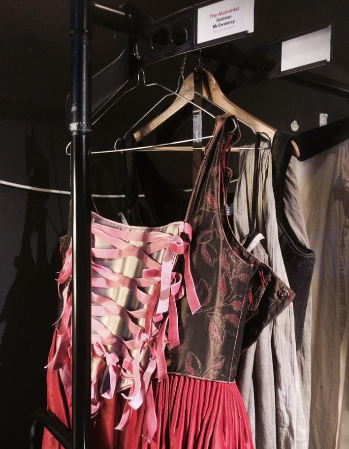 A rack full of costumes, with a pink, heavily strapped dress in front
