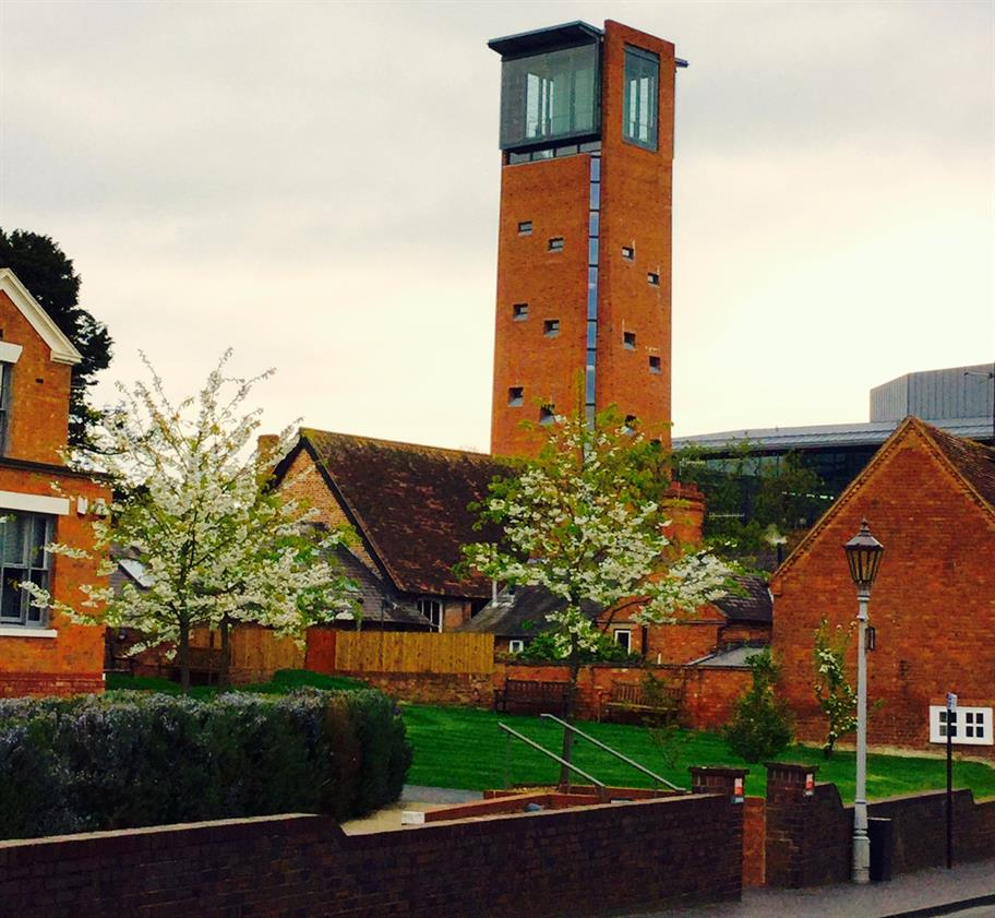 The RST Tower from Chapel Lane, surrounded by buildings