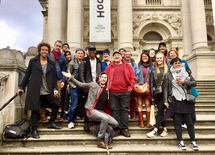 cast of Salome on the steps of the Tate