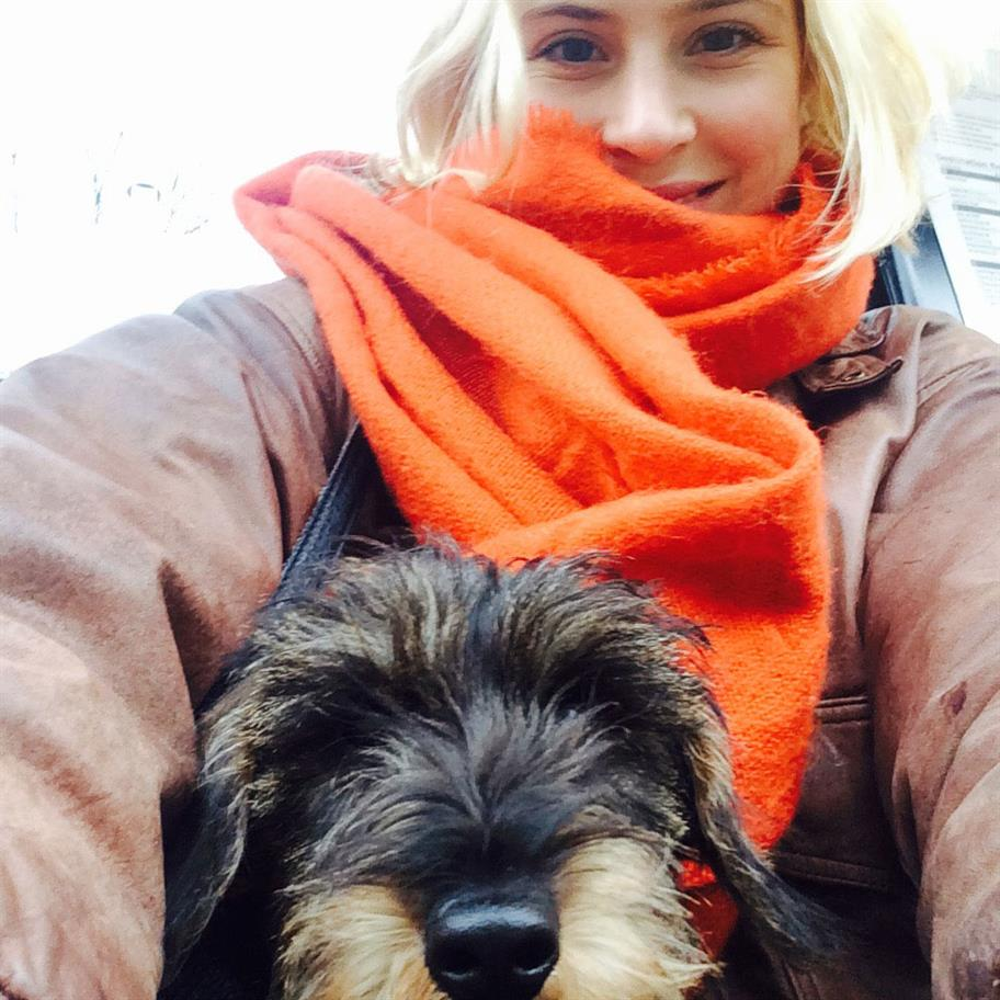 Zeus the puppy being carried by Eleanor in her handbag. Eleanor wears a bright orange scarf