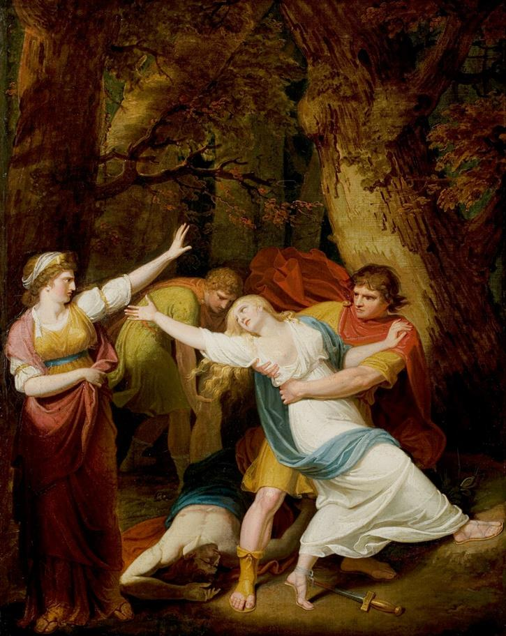An oil painting of Titus Andronicus, showing a girl in a white dress reaching out to a woman while a man drags her away
