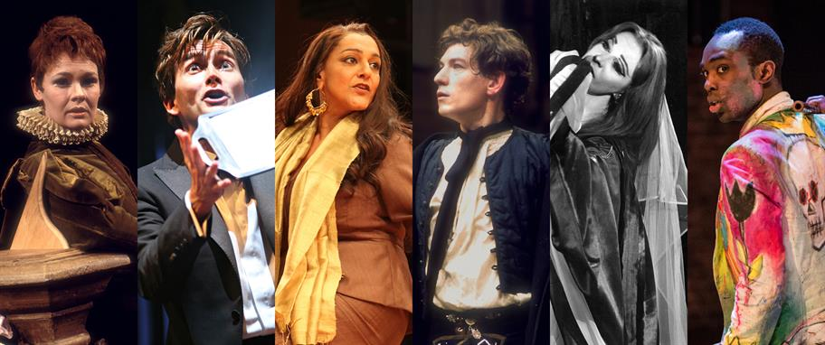 Judi Dench as Viola, David Tennant as Hamlet, Meera Syal as Beatrice, Ian McKellen as Romeo, Vivien Leigh as Lavinia and Paapa Essiedu as Hamlet in a composite image of past production photos