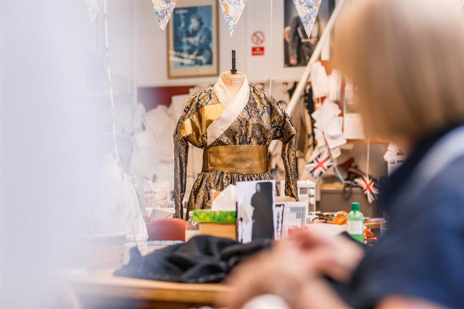 Gold kimono style costume being made in the RSC's costume workshops