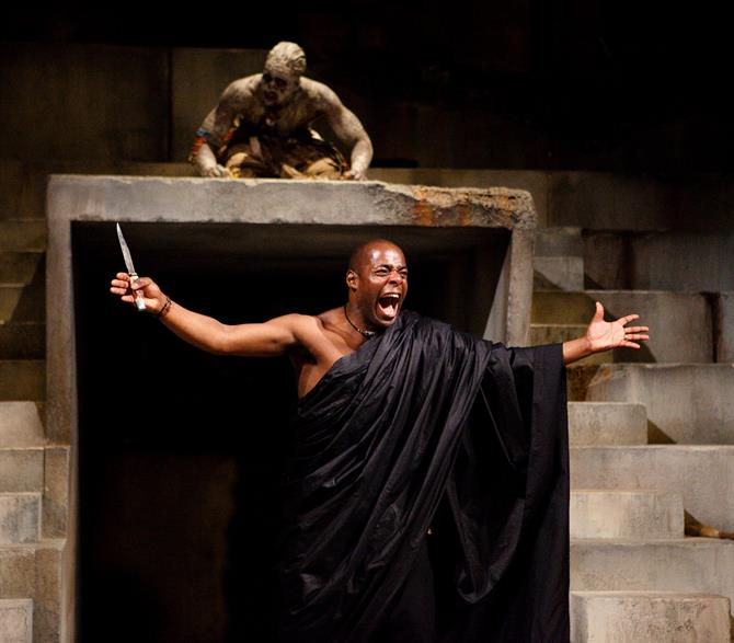 Julius Caesar, 2012, directed by Gregory Doran. Paterson Joseph as Brutus and Theo Ogundipe as Soothsayer.