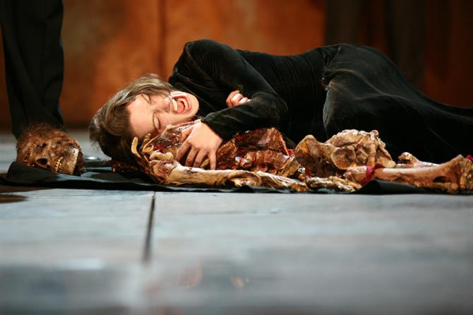 Richard III, 2007, directed by Michel Boyd. Margaret (Katy Stephens) mourns the death of her son.