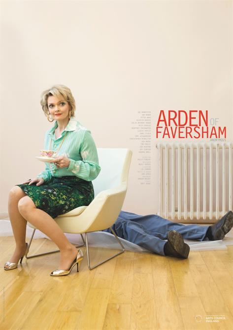 Arden of Faversham poster showing Alice Arden in modern clothing sitting on a chair, with a man's body visible behind her