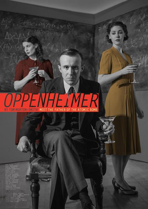 Oppenheimer poster, showing a man in a chair and two women standing behind him, all in 1940s clothing