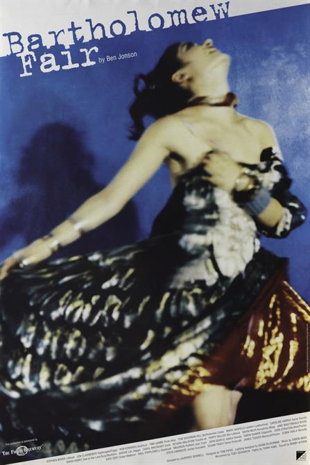 Bartholomew Fair's poster, showing a laughing woman twirling in a colourful dress