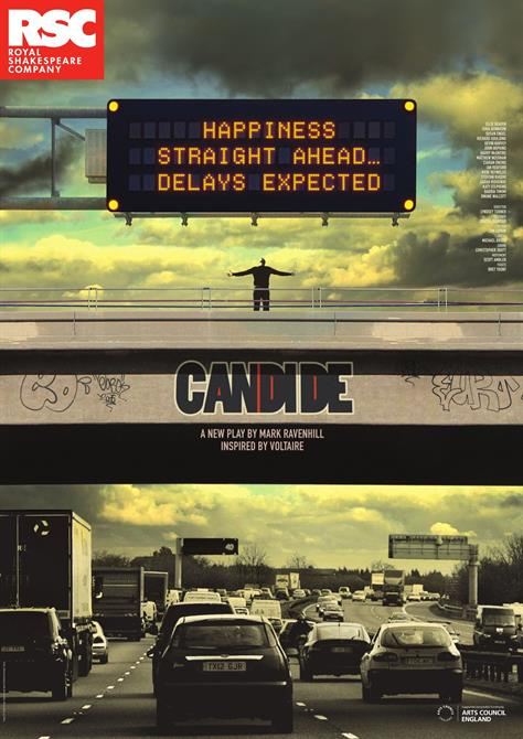 Poster of Candide showing a person standing on a bridge above highway traffics, with his arms outstretched