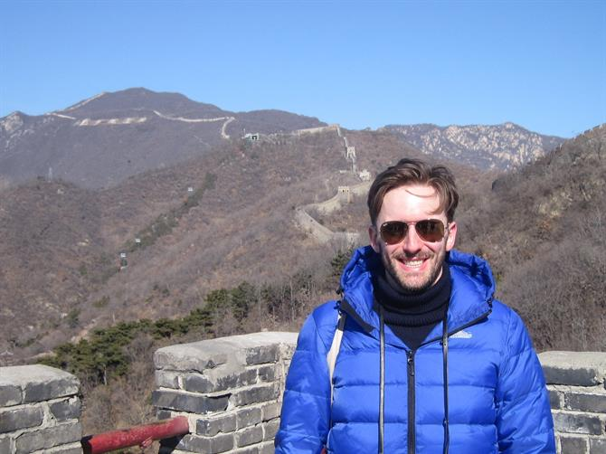Actor Sam Marks on the Great Wall of China