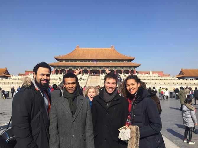 Actors from the King and Country Company at the Forbidden City, Beijing